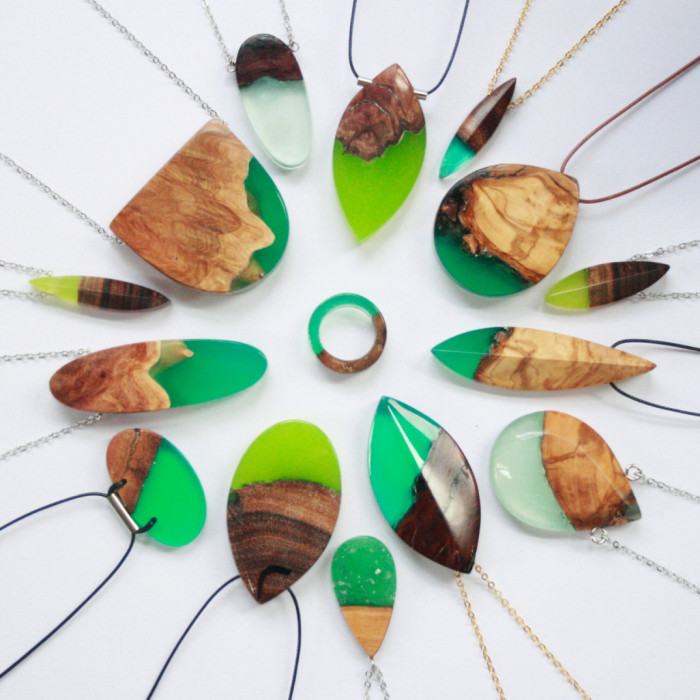 Molto Gioielli in frammenti di legno fusi con resina - Keblog Shop VN82