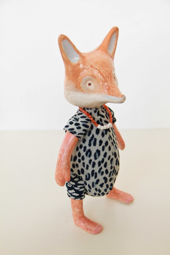 Signora Volpe bambola in ceramica fatta a mano